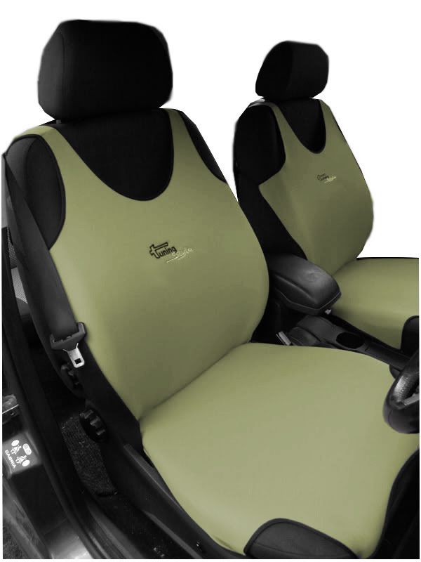 2 Beige Front Vest Car Seat Covers Protectors For Fiat 500 Ebay