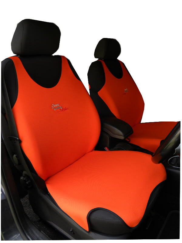 2 ORANGE FRONT VEST CAR SEAT COVERS PROTECTORS FOR PEUGEOT 307