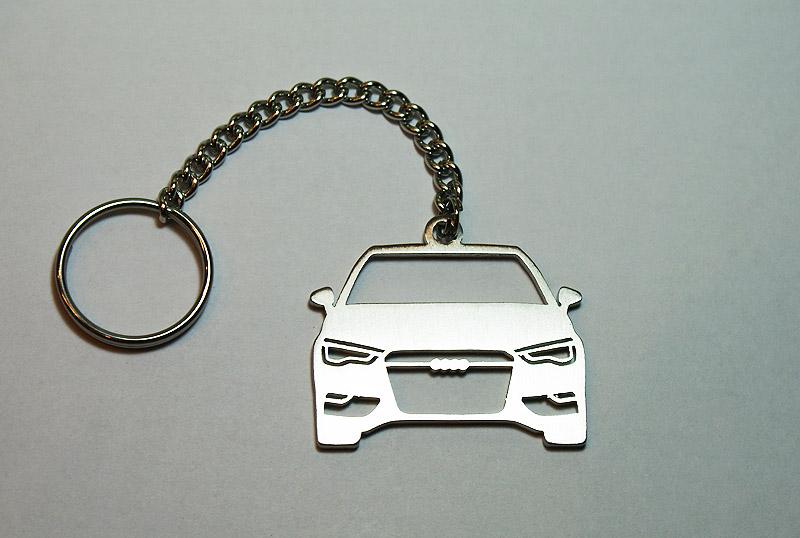 Stainless Steel Laser Cut Car Keychain Keyring Keyfob Audi